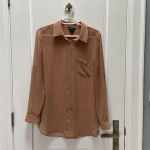 Anthropologie nude button up blouse size small